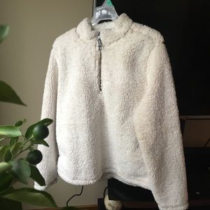 Sherpa fleece pullover half zip high neck white